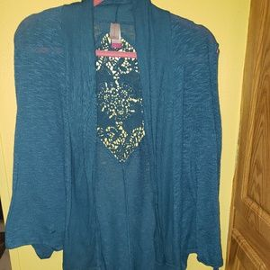Blue No Boundaries Open Cardigan w/ Lace Back